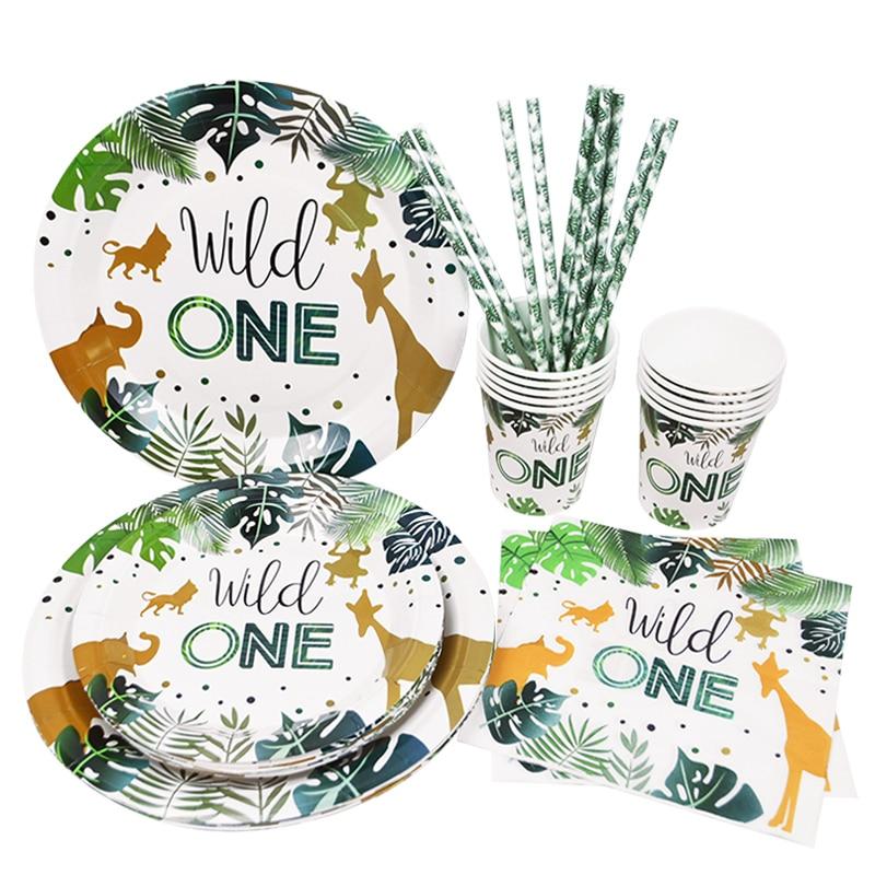 Wild One vajilla desechable para fiesta jungla de Safari decoración de fiesta de cumpleaños niños taza y plato de papel suministros de baño para bebé|Vajilla de fiesta desechable|   -