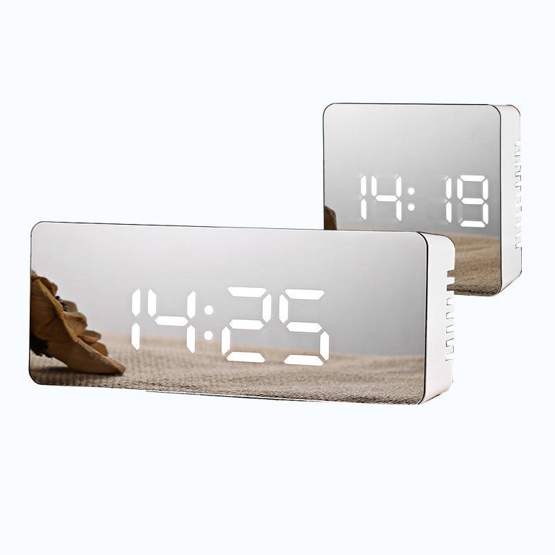 Digital Alarm Clock LED Night Light Mirror Display Temperature Snooze Home Decoration
