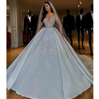 Sexy Illusion Ball Gown Wedding Dress Luxury Beading Long Sleeves Dubai Wedding Gowns White Court Train robe de mariee