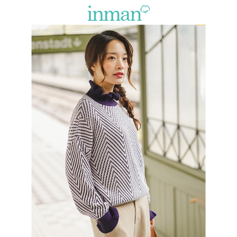 INMAN 2019 Winter New Arrival Agaric Lace Stand Up Collar Jacquard Literary All Matched Casual Women Pullover