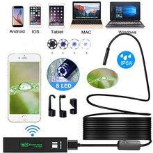 1200P kablosuz WIFI endoskop kamera USB Borescope Iphone Android IOS için endoskop Mini su geçirmez kamera 8MM 2M 5M 10M sabit