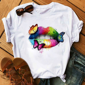 Watercolor Lip Printed Tshirt Fashion Women Tshirt Tops Casual Short Sleeve Tee Shirts Summer Female Graphic T-shirt Clothes