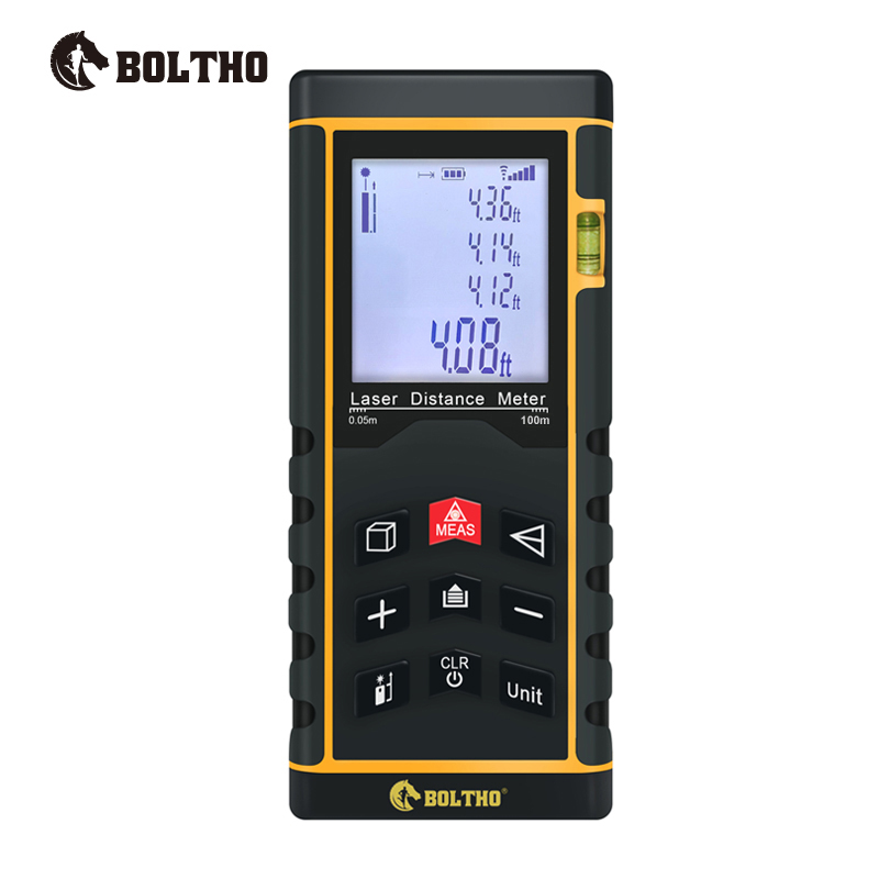 BOLTHO Laser Rangefinder 100m-Digital Distance Meter battery-powered laser range finder tape distance measurer