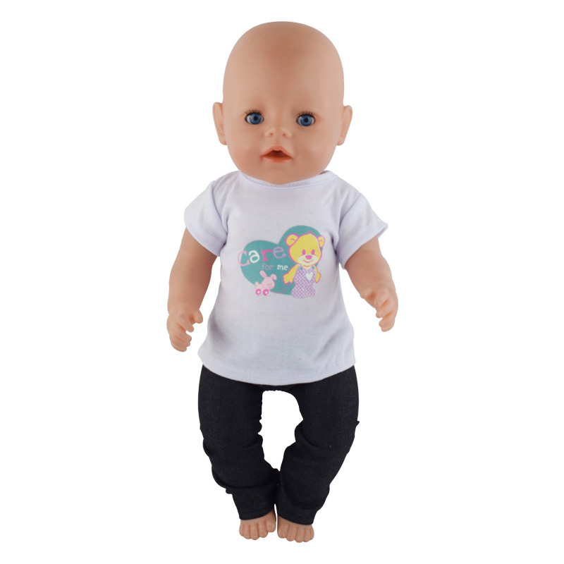 2pcs/set T-shirt+Pants Dolls Clothes For 43cm Baby Doll Cute Jumpers Rompers 17 Inch Zapf Doll Clothes