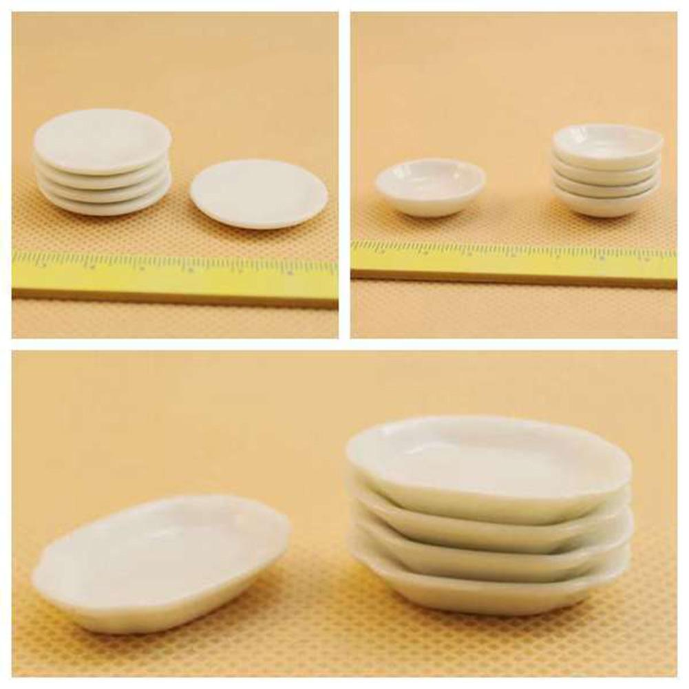 5Pcs 1/12 Dollhouse Plate Mini Ceramics Plate Dish Toy Tableware Kitchen Accessories Dollhouse Decor Kids Pretend Play Toys