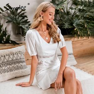 Image 2 - Simplee נשים הולו מתוך לבן שמלת פאף שרוול פרע v צוואר bodycon שמלת כפתורים מזדמנים חוף עבודת מסיבת רטרו קיץ שמלה