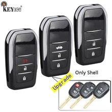 KEYECU עבור טויוטה RAV4 פריוס C שונה Flip מרחוק רכב מפתח Shell Case 2/3/4 כפתור HYQ12BDM HYQ12BEL TOY43 להב