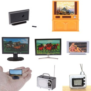 Dollhouse Miniature Wide Screen Television Flat-Panel LCD TV Classic Pretend Play Toys for Child