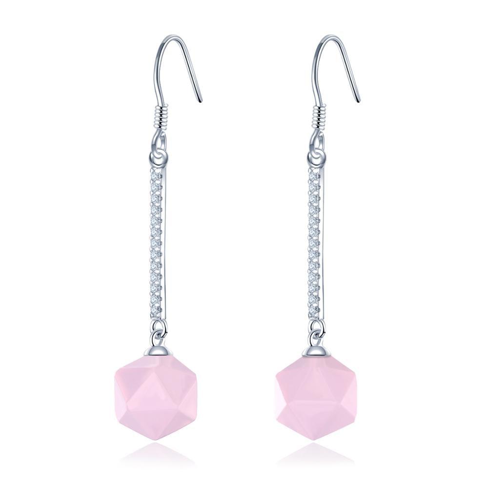 Hutang Fine Jewllery Drop Earrings Natural Rose Quartz Gemstone S925 Silver Trendy Jewelry for Women Girls Best Gift