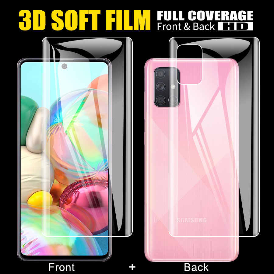 Voor + Back Screen Protector Hydrogel Film Voor Samsung Galaxy A51 A71 S20 Ultra Note 10 Plus Lite A50 A70 m30S M40 Niet Glas