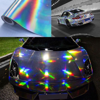 Premium Chrome Silver Laser Holographic Auto Car Wrap Film Rainbow Car styling Body Decoration Chrome Sticker Sheet Decal image
