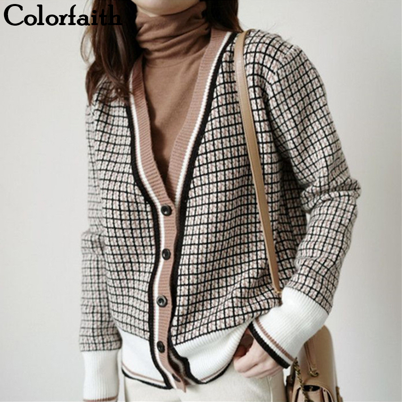 Colorfaith New 2019 Autumn Winter Women's Sweaters Plaid Loose Casual Fashionable Tops Korean Style Knitting Cardigans SWC291