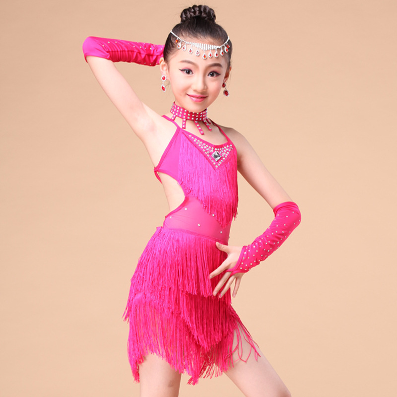 Children's Latin Dance Skirt 2019 New Summer Fashion Tassel Girls Dance Clothes Costumes Dance Latin Dance Performance Clothing