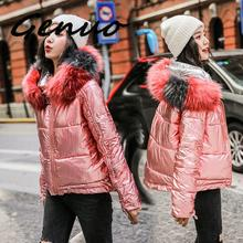 Genuo New 2019 Down Cotton Parka Winter Women Jacket Fur Hooded Winter Warm Thick Short Parka Winter Coat Jacket Women