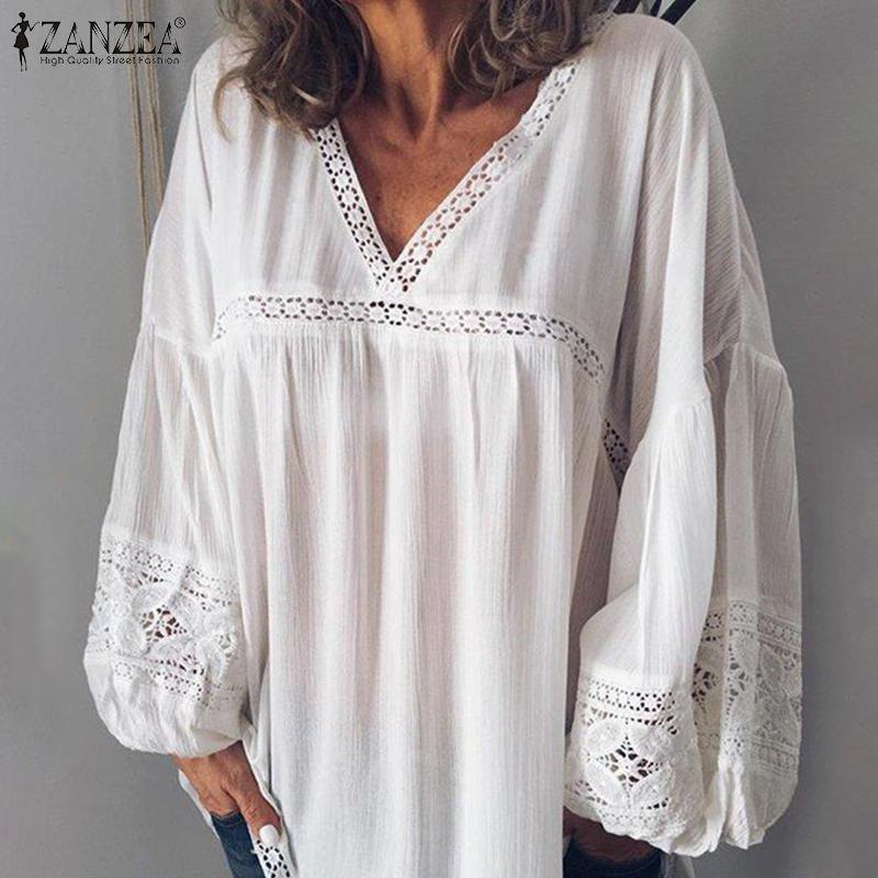 Fashion Lace Patchwork Blouse Womens Tunic 2020 ZANZEA Sexy V Neck Blusas Female Puff Sleeve Shirts Plus Size Transparent Tops