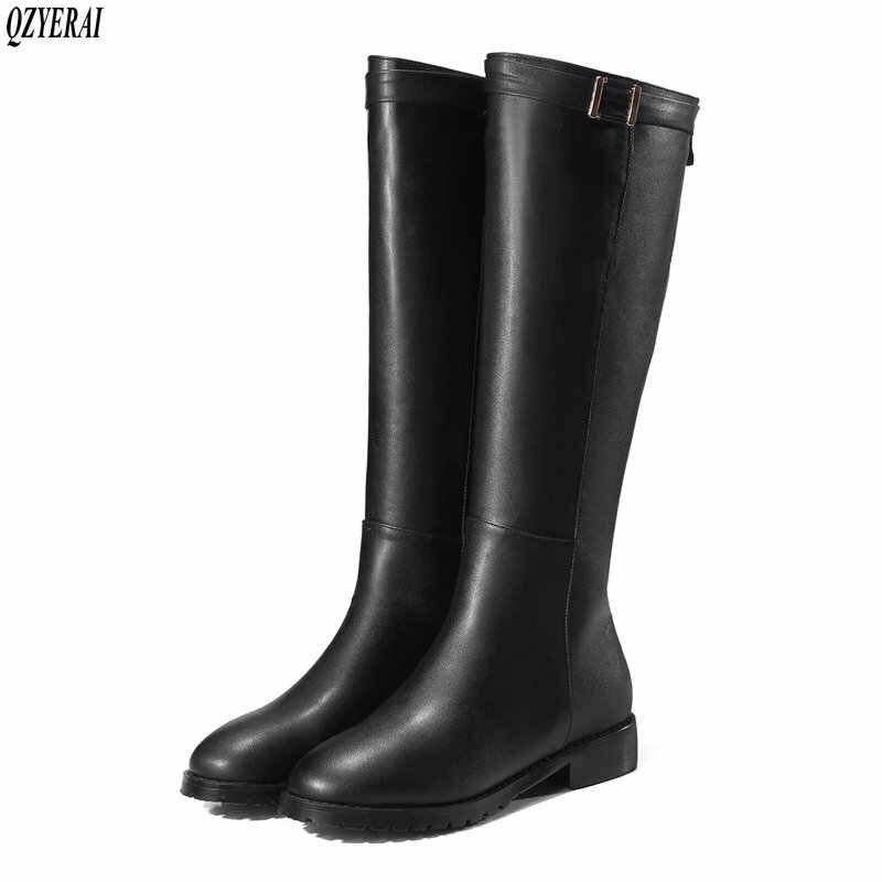 Große größe 34-43 frauen kniehohe stiefel schnalle mit zip Retro frauen motorrad stiefel dickes fell warme winter schnee stiefel