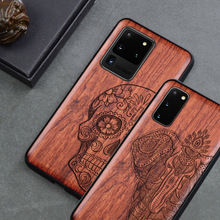 กะโหลกศีรษะแกะสลักช้างไม้สำหรับ Samsung Galaxy S20 S10 S10 + หมายเหตุ 10 Plus Samsung S20 ultra Silicon ไม้กรณี