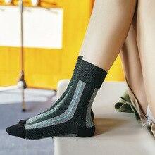 MYT_0210 Autumn and Winter Socks New Korean gold silver silk vertical strip socks
