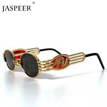 JASPEER Sunglasses Men Women Dragon Round Glasses Metal Frame Steampunk Black Go