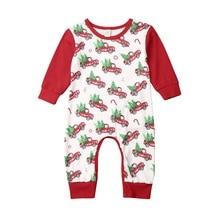 0-24M Christmas Baby Boy Girl Red Romper Newborn Infant Baby Cartoon Car Santa Long Sleeve Jumpsuit Xmas Baby Costumes стоимость