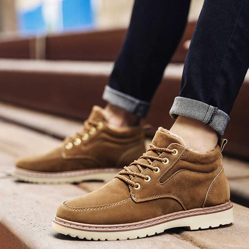 Zapatillas inglesas para Hombre, botas De invierno para Hombre, botas De PU para exteriores para nieve, botines antideslizantes con cordones para Hombre, botines De talla grande 44, Zapatos De Hombre