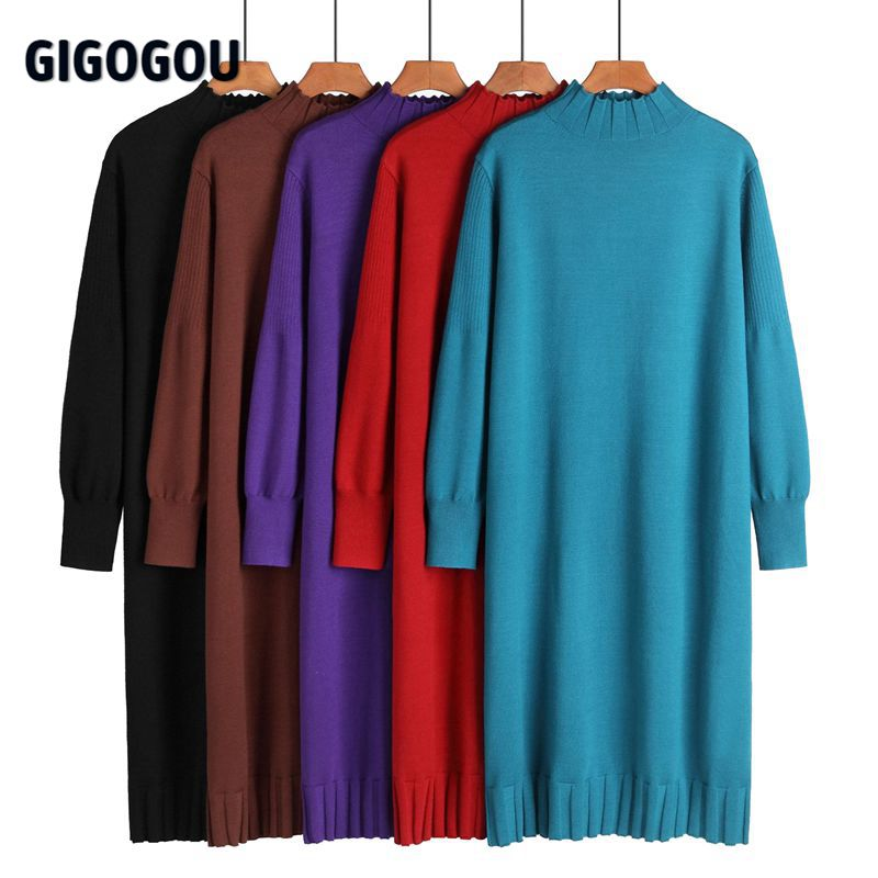 Maglione lungo da donna a maglia lunga invernale giganti retrò dolcevita caldo spesso abito dritto abito da festa di natale invernale Vestido 2021