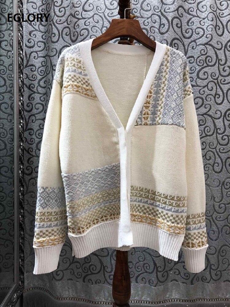 100% laine chandails 2019 Auutmn hiver mode Cardigans Outwear femmes Vintage modèles tricot à manches longues décontracté Cardigans manteau
