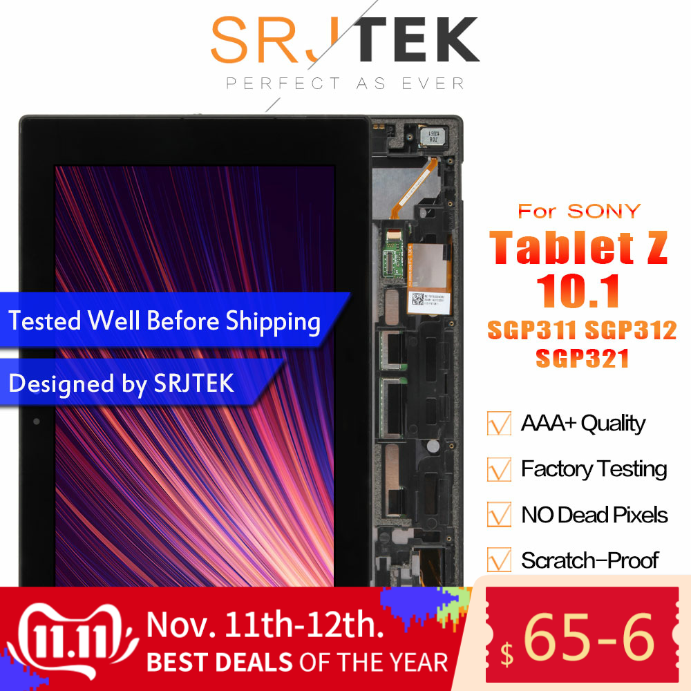 Srjtek For Sony Xperia Tablet Z 10.1 SGP311 SGP312 SGP321 LCD Display Matrix Screen Touch Panel Tablet PC Assembly With Frame