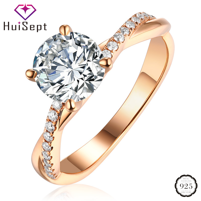 HuiSept Fashion Silver 925 Ring for Female Round AAA Zircon Gemstones Jewelry Accessories Open Rings Wedding Party Dropshipping