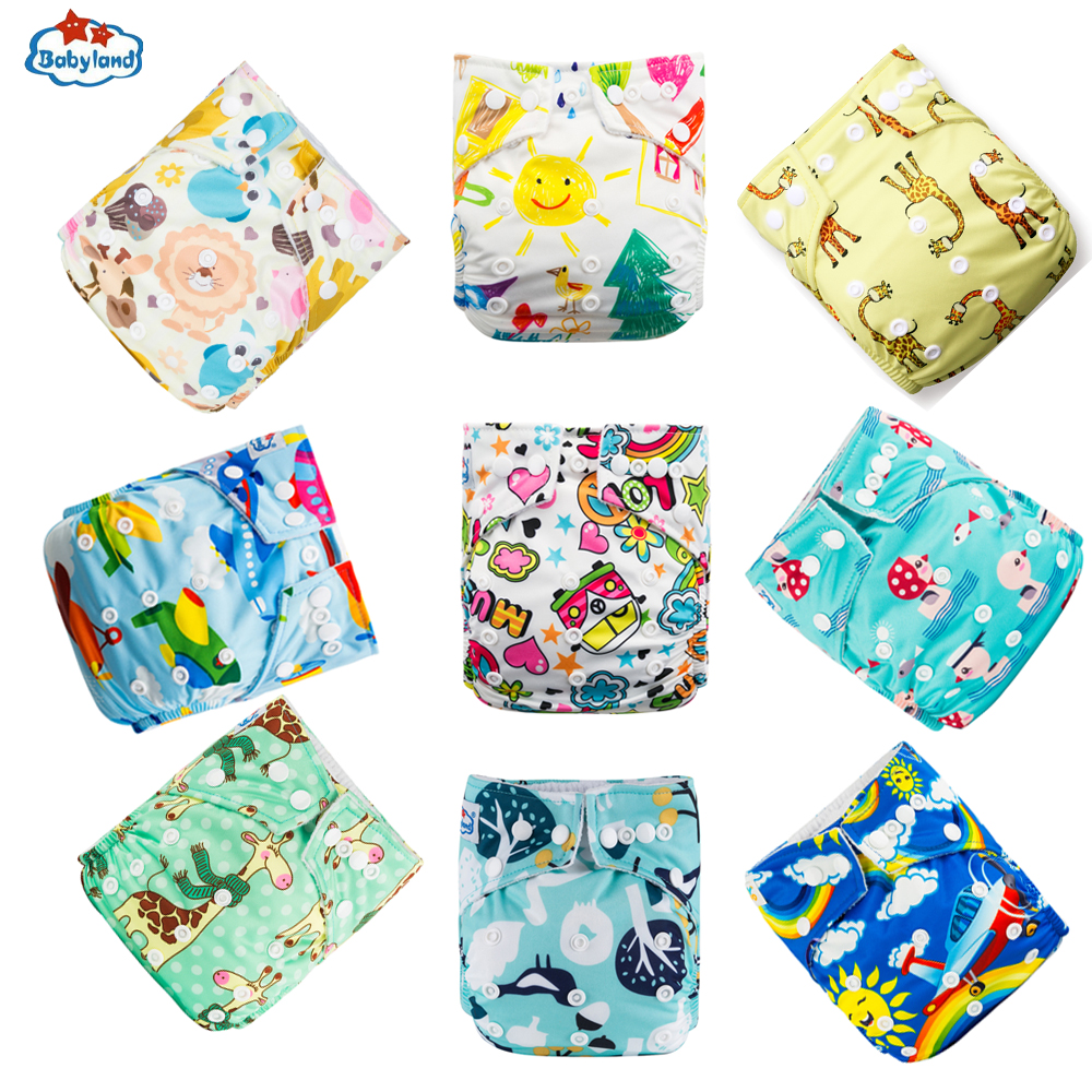 9pcs/Lot Origial BABYLAND Baby Cloth Diapers Good Quality Eco-Friendly Washable Nappy Reusable Baby Pocket Diapers 3-15KG Baby