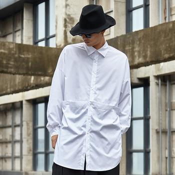Men Fashion Splice Design Loose Casual Long Sleeve Shirt Male Women Japan Streetwear Hip Hop Party Dress Shirt Stage Clothing