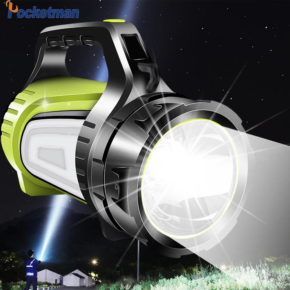 8000lm 80W LED ไฟฉายแบบชาร์จไฟได้ USB ไฟฉาย LED 2 ด้านข้างโคมไฟกลางคืน Hand Handle Spotlight ULTRA-ยาวสแตนด์บาย