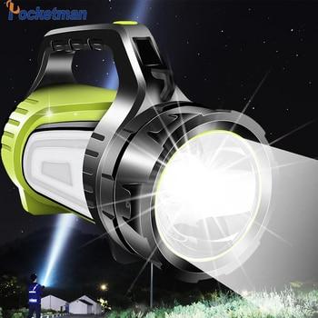 Linterna de búsqueda recargable LED de 80W 8000LM, linterna LED USB, lámpara de luz nocturna de 2 lados, foco de mano Ultra Larga modo de reposo