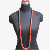 4UJewelry Nigerian Wedding Jewellery Set With Big Coral in the Middle Men's Necklace Bracelet Set 2019 Genuine Coral Beads African Groom Set Long Design Edo Traditional Bridal Nature Coral Jewelry Set 3 Pieces Indian