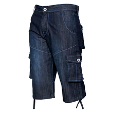 Kruze Mens Cargo Combat Denim Pants Cut and Sew Design 6 Pockets Contrast Stitching Knee Length Jeans For Man Multi- Pockets D40 men contrast stitching destroyed denim pants