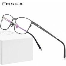 FONEX Reines Titan Brille Rahmen Männer Platz Brillen Männlichen Klassischen Volle Optische Rezept Brillen Rahmen Gafas Oculos 8505