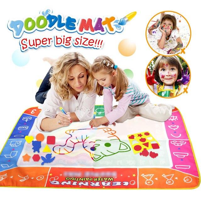 120*90cm Funny Magic Water Drawing kolorowanka Doodle Mat z 4 magiczny długopis malowanie tablica do pisania dla dzieci zabawki urodziny prezent