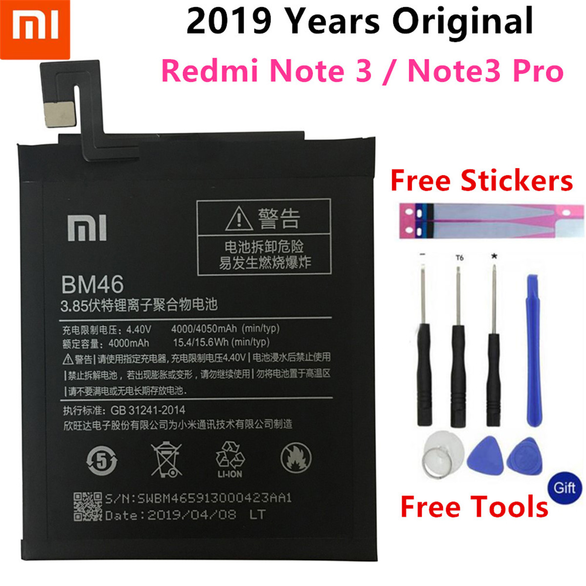 Xiao Mi BM46 Phone Battery Real 4000mAh For Xiaomi Redmi Note 3 Redmi Note3 Pro Li-ion Original Phone battery Batterie +Tools image