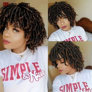 Image 3 - Wignee Short Soft Brown Dreadlocks Synthetic Wigs For Women Faux locs Afro Kinky Curly Hair With Bangs Crochet Twist Hair Wigs