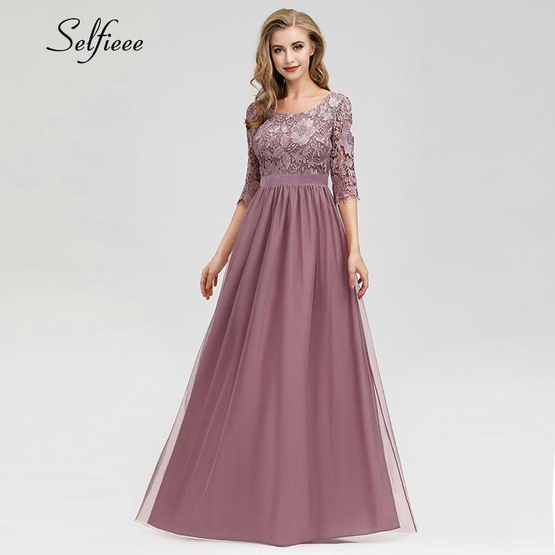 New Summer Dresses Casual A Line O Neck Half Sleeve Long Beach Dress Elegant Lace Maxi Dresses For Women 2019 Robe Longue Femme