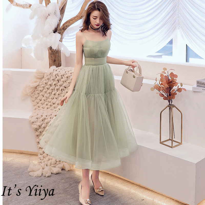 It's Yiiya Cocktail Dress 2019 Elegant Sweetheat Green Women Party Dresses Plus Size Sleeveless Tea-length Robe De Soiree  E780