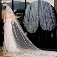 TOPQUEEN V10 Full With Pearl Cathedral Wedding Veil New Fashion Design Bridal Veil Long Chapel Veil with Comb One Tiers Veil