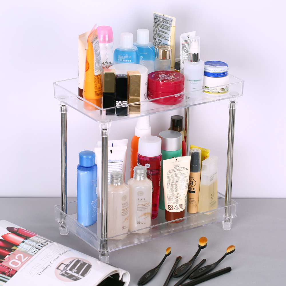 Multi-functional 2-Tier Cosmetic Organizer Tray Makes Storage Shelf Caddy Stand for Bathroom Vanity Countertop