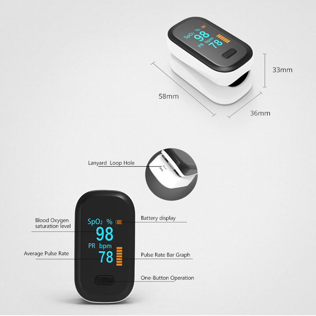 BOXYM Medical Portable Finger Pulse Oximeter blood oxygen Heart Rate Saturation Meter OLED Oximetro de dedo Saturometro Monitor 4