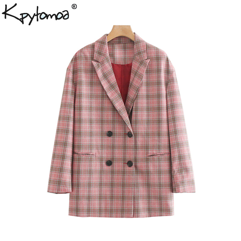 Vintage Stylish Double Breasted Checkered Blazer Coat Women 2020 Fashion Notched Collar Long Sleeve Pockets Loose Chic Outerwear