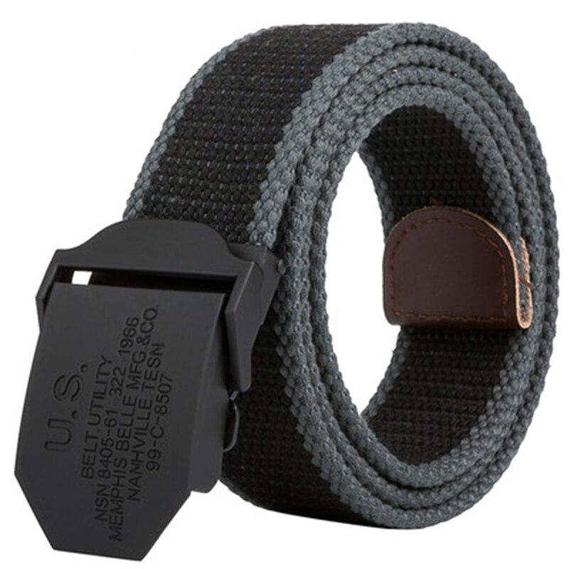 2019 Men Weave Canvas Unisex Belt Mens Waist Belt Casual Cargo Belt Military Fans Automatic Buckle-Belt Male Field Tactical Belt