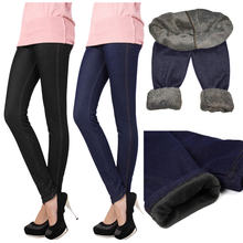Зимние размера плюс леггинсы женские джинсовые jegging вельветовые