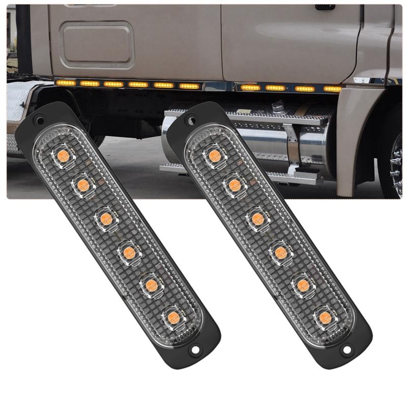 10 Pcs 6 LED 18W Universal Truck Side Lights Amber Emergency Car Side Marker Grille Flash LED Warning Lights