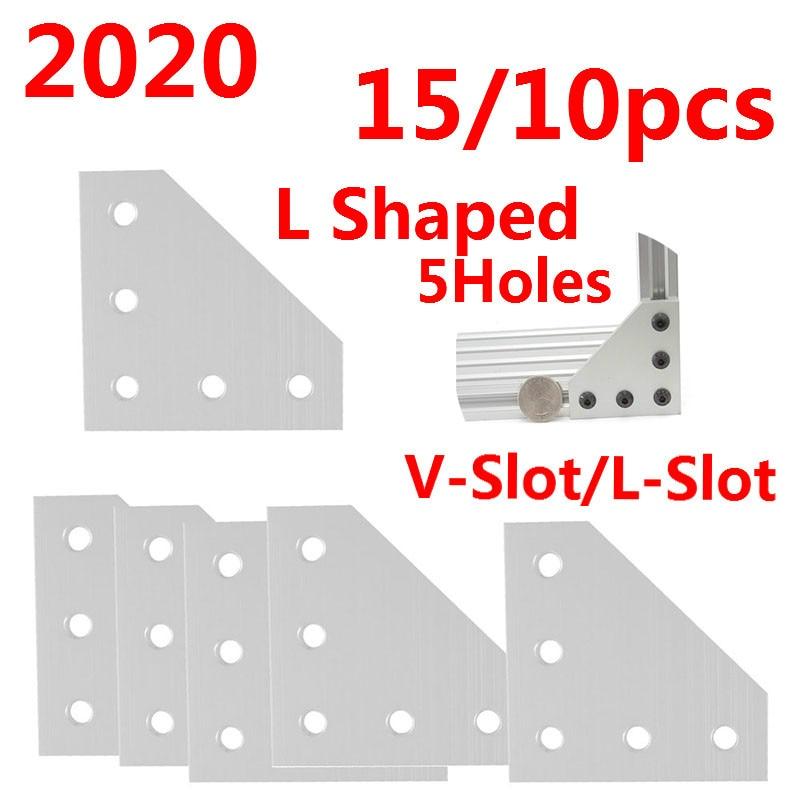 2020 3D Printer Aluminium L Shaped 60x60x4mm Angle Connection Joint Corner Joining Plate 5Holes Silver V-Slot/L-Slot 15/10pcs