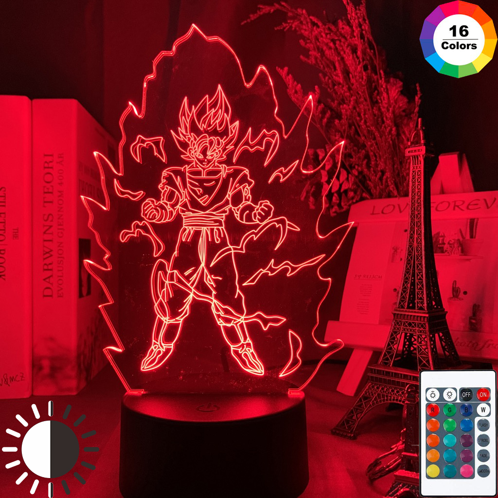 3d Lamp Dragon Ball Goku Super Saiyan Figure Nightlight for Child Bedroom Decor Cool Xmas Gift Color Changing Led Night Light(China)